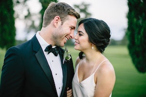 Couple moments after getting married.
