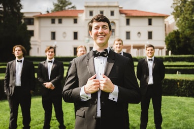 Groom in tuxedo ready for the big day