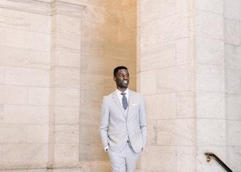 Man wearing gray suit rental