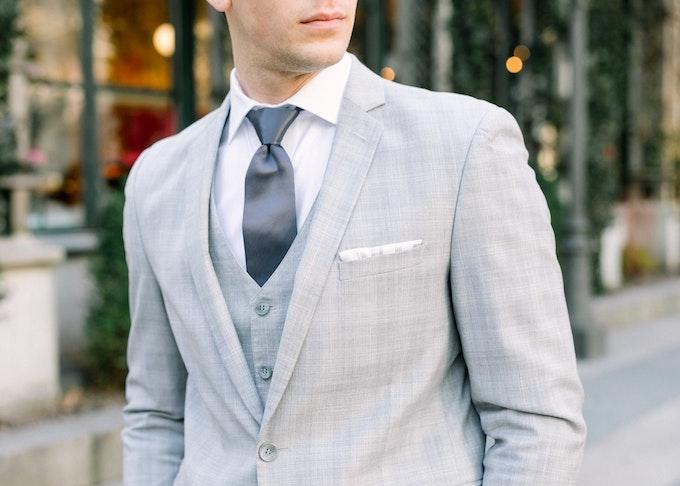 Man in Gray Wedding Suit Rental