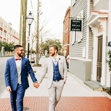 Mystic Blue Peak Lapel Suit - Image by Ivy Bee Weddings