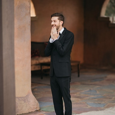 Black Notch Lapel Tuxedo - Image by Allie & Joey Photography