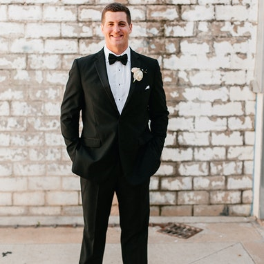 Black Notch Lapel Tuxedo - Image by Rachel Meagan Photography