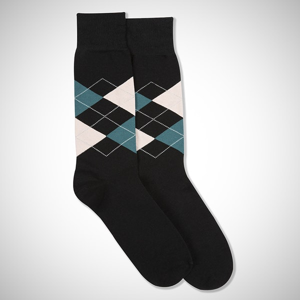 The Perfect Pair Black Argyle Sock