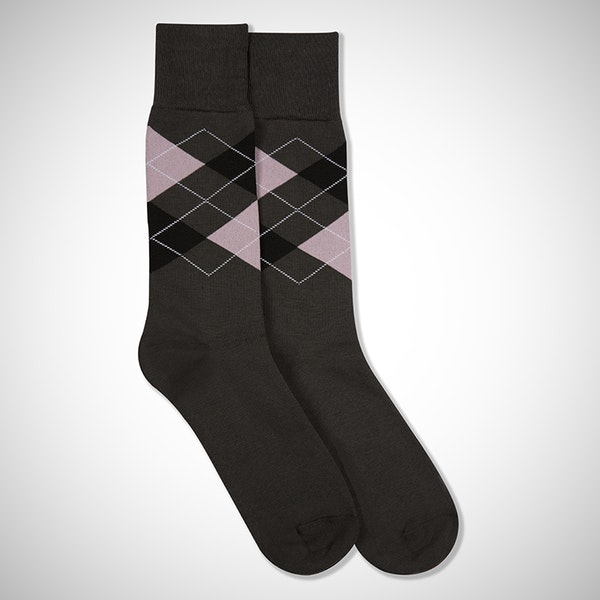 Blushing Bride Gray Argyle Sock