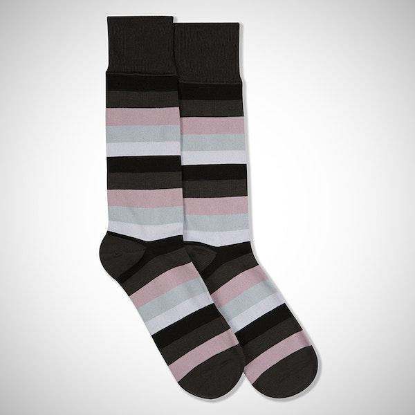 Blushing Bride Gray Striped Sock