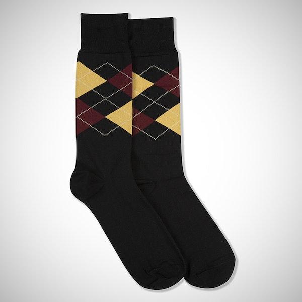 Wine Flight Black Argyle Sock
