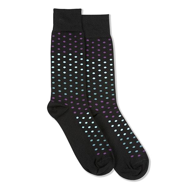 Persian Plum, Teal Blue, & Capri Black Pin Dot Socks