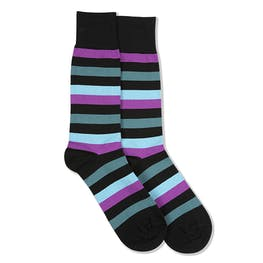 Persian Plum, Teal Blue, & Capri Black Striped Socks