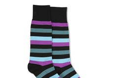 Persian Plum, Teal Blue, & Capri Black Striped Socks