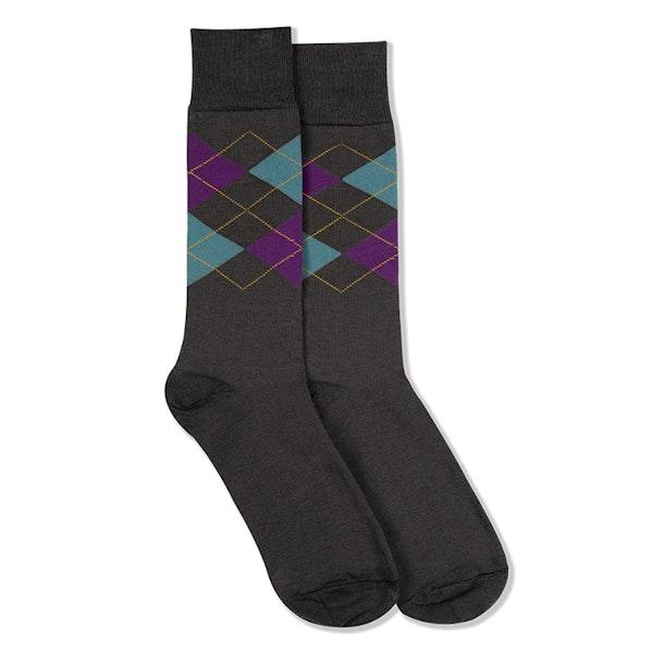 Plum & Teal Blue Gray Argyle Socks