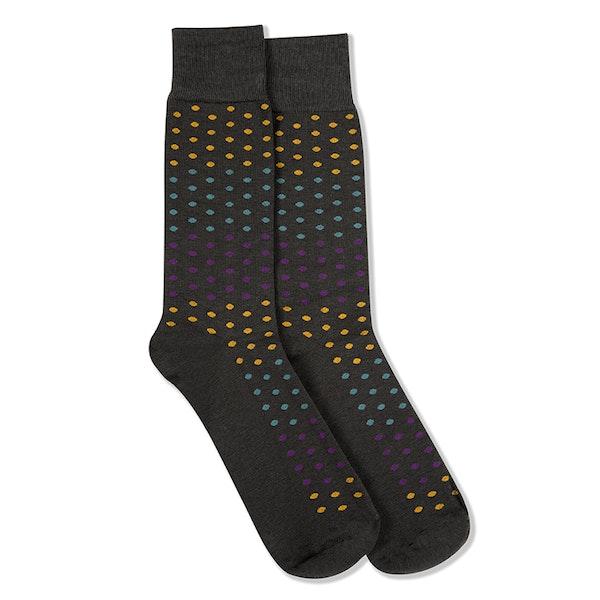 Plum, Teal Blue, & Bronze Gray Pin Dot Socks