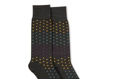Plum, Teal Blue, & Bronze Gray Pin Dot Socks