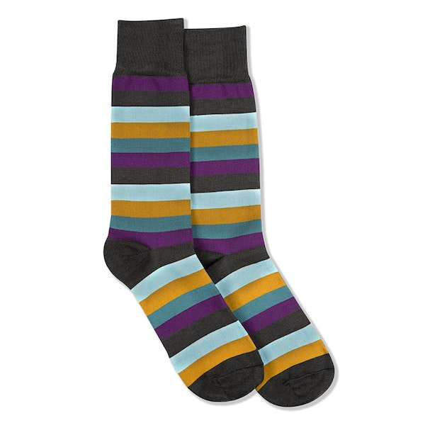 Plum, Teal Blue, Bronze, & Capri Gray Striped Socks