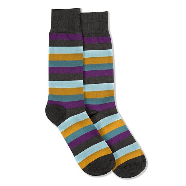 Plum, Teal Blue, Bronze, & Capri Gray Striped Socks