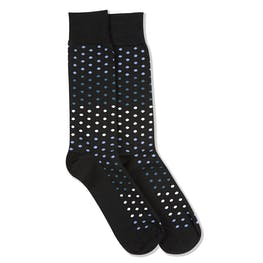 Peacock, White, & Steel Blue Black Pin Dot Socks