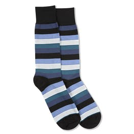 Peacock, White, Steel Blue, & Dark Navy Black Striped Socks