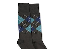Dark Navy & Teal Blue Gray Argyle Socks