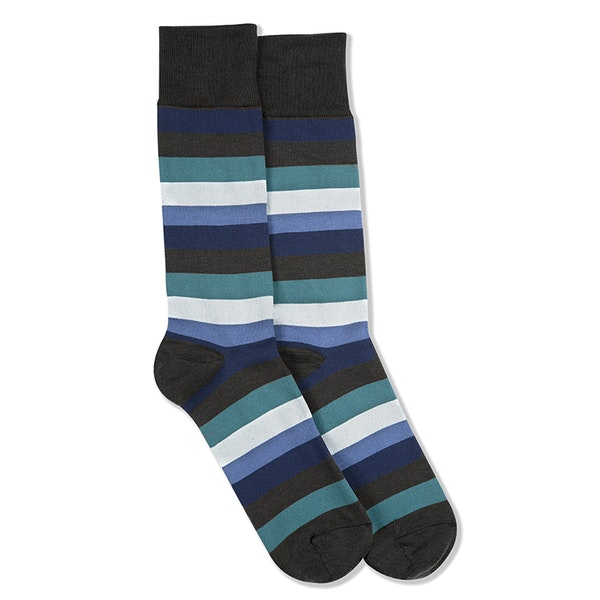 Dark Navy, Teal Blue, White, & Steel Blue Gray Striped Socks