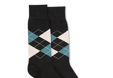 Petal & Teal Blue Black Argyle Socks