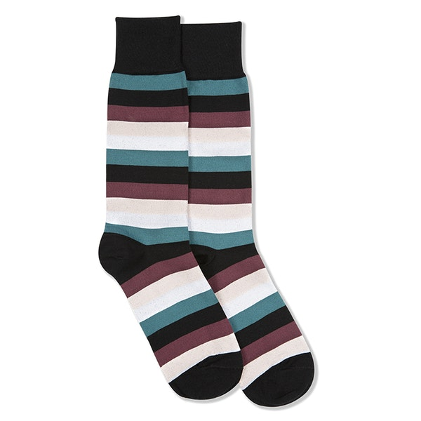 Petal, Teal Blue, Chianti Rose, & White Black Striped Socks