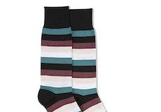 Petal, Teal Blue, Chianti Rose, & White Black Striped Socks