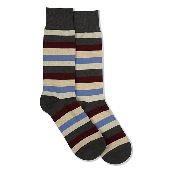 Sangria, Steel Blue, Champagne, & Biscotti Gray Striped Socks