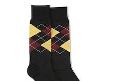 Sangria & Midas Gold Black Argyle Socks