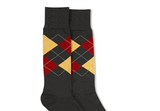 Burnt Orange & Midas Gold Gray Argyle Socks