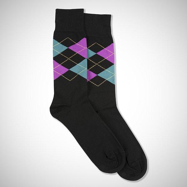 Persian Plum & Teal Blue Black Argyle Socks