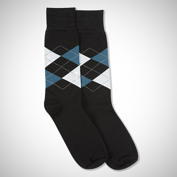 Peacock & White Black Argyle Socks