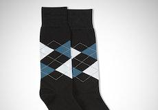 Peacock & White Black Argyle Socks