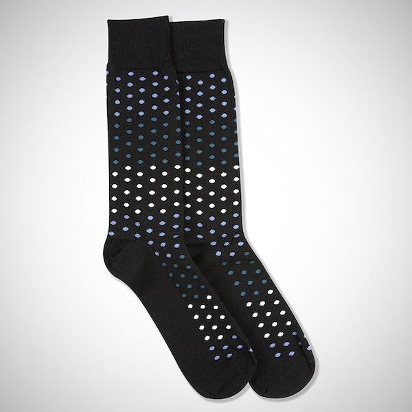 Peacock, White, & Steel Blue Black Pin Dot Socks