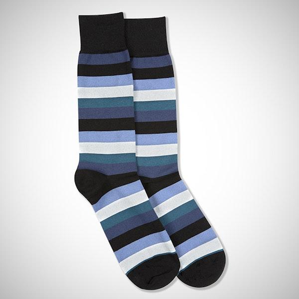 Peacock, White, Steel Blue, & Dark Navy Black Striped Socks