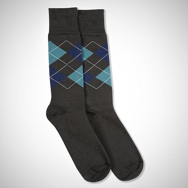 Dark Navy & Teal Blue Gray Argyle Socks
