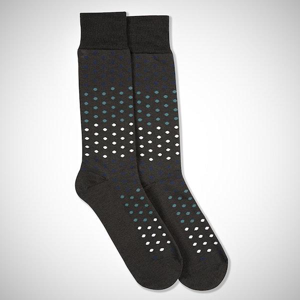Dark Navy, Teal Blue, & White Gray Pin Dot Socks