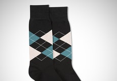 Petal & Teal Blue Black Argyle Socks