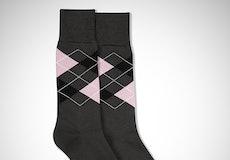 Black & Blush Gray Argyle Socks