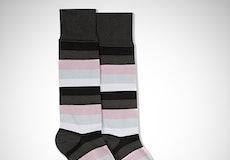 Black, Blush, Silver, & White Gray Striped Sock