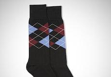 Sangria & Steel Blue Black Argyle Socks