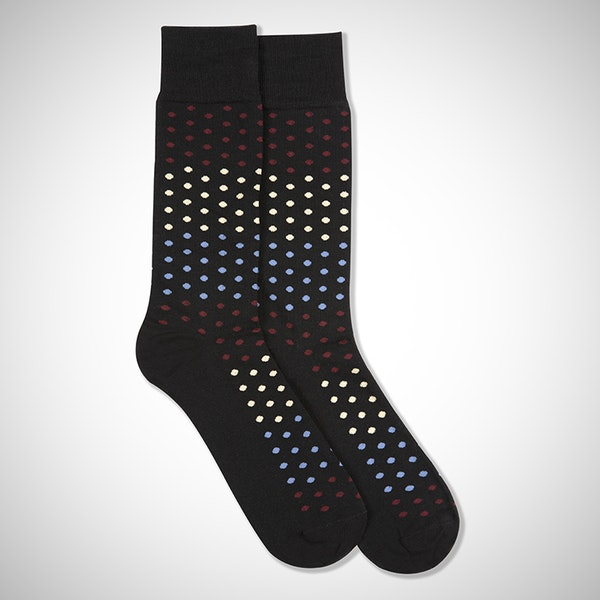 Sangria, Steel Blue, & Champagne Black Pin Dot Socks
