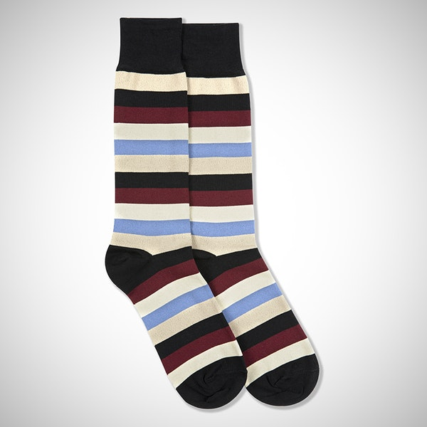 Sangria, Steel Blue, Champagne, & Biscotti Black Striped Socks