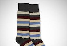 Sangria, Steel Blue, Champagne, & Biscotti Gray Striped Socks
