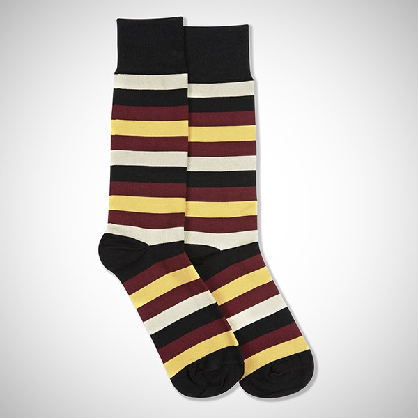 Sangria, Midas Gold, & Champagne Black Striped Socks