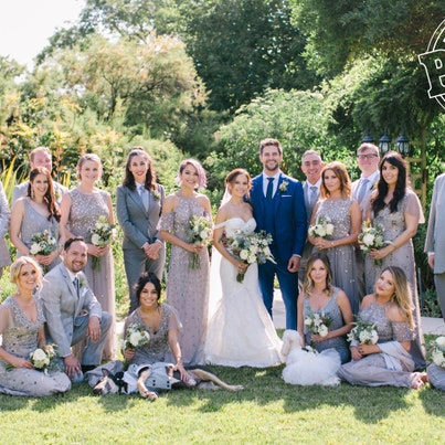 brant daugherty and kim hidalgo wedding party with groom in suit rental