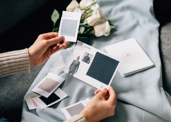 Bride looking at Generation Tux suit swatches.