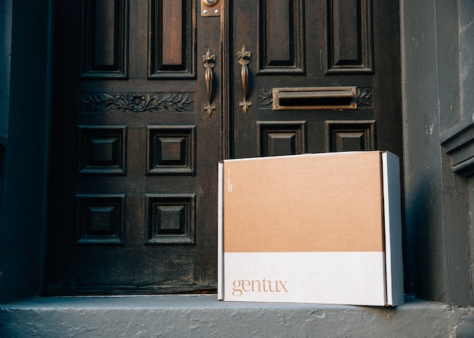 photo of generation tux delivery box on a doorstep
