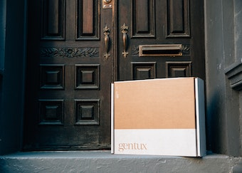 photo of a generation tux delivery box left on a doorstep