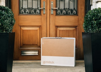 photo of a generation tux delivery box on a front doorstep