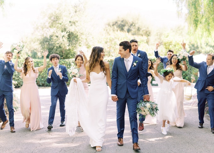 The perfect wedding photo featuring smiling bride and groom
